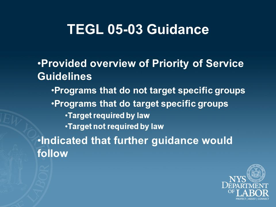 TEGL 05-03 Guidance Provided overview of Priority of Service Guidelines Programs that do not target specific groups Programs that do target specific g