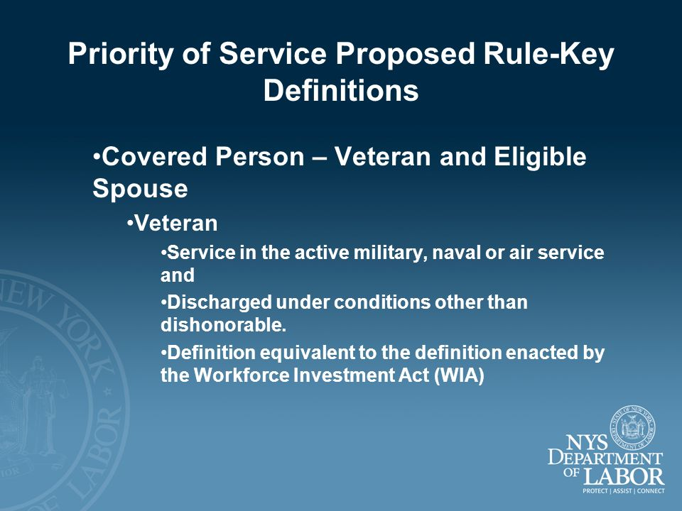 Priority of Service Proposed Rule-Key Definitions Covered Person – Veteran and Eligible Spouse Veteran Service in the active military, naval or air se