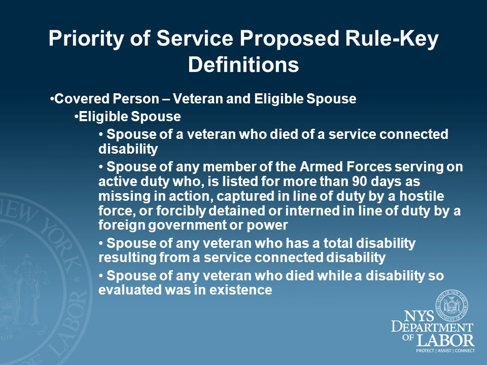 Priority of Service Proposed Rule-Key Definitions Covered Person – Veteran and Eligible Spouse Eligible Spouse Spouse of a veteran who died of a servi