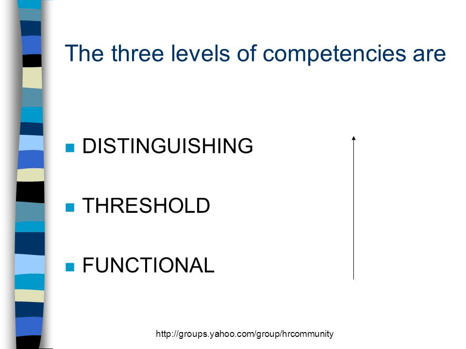 http://groups.yahoo.com/group/hrcommunity The three levels of competencies are n DISTINGUISHING n THRESHOLD n FUNCTIONAL