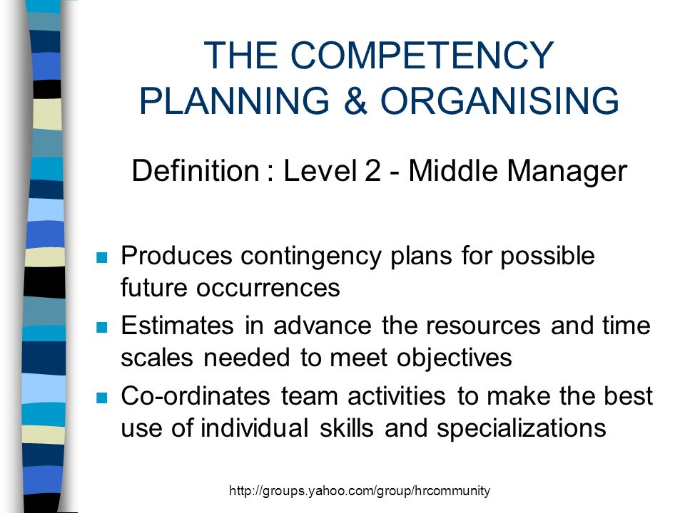 THE COMPETENCY PLANNING & ORGANISING Definition : Level 2 - Middle Manager n Produces contingency plans for possible future occurrences n Estimates in advance the resources and time scales needed to meet objectives n Co-ordinates team activities to make the best use of individual skills and specializations