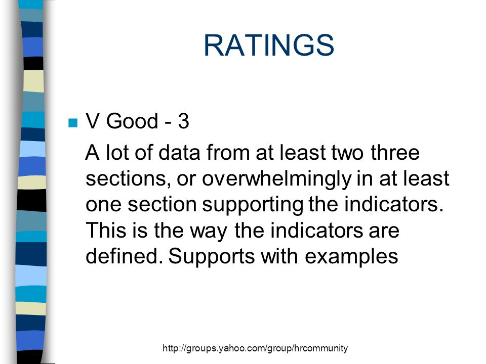 http://groups.yahoo.com/group/hrcommunity RATINGS n V Good - 3 A lot of data from at least two three sections, or overwhelmingly in at least one section supporting the indicators.
