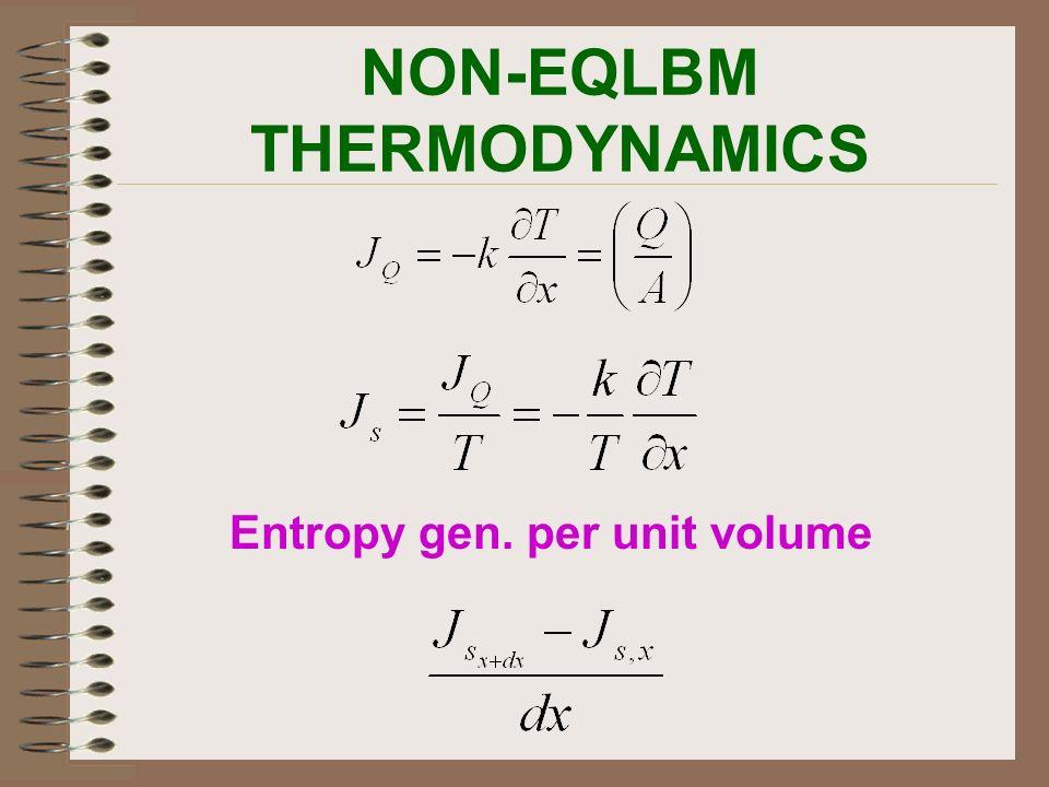NON-EQLBM THERMODYNAMICS Entropy gen. per unit volume