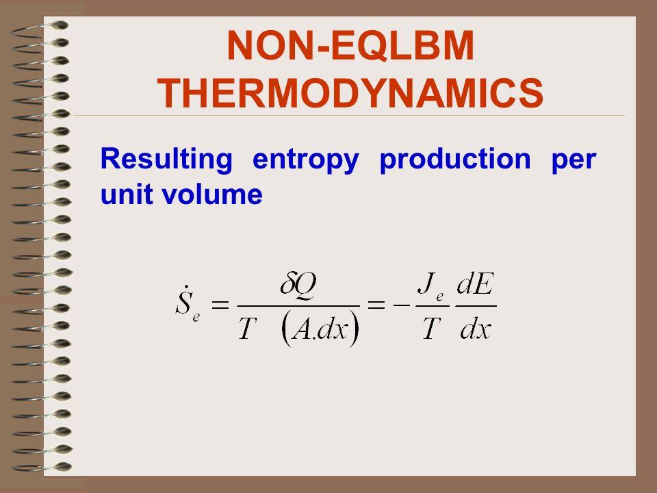 NON-EQLBM THERMODYNAMICS Resulting entropy production per unit volume