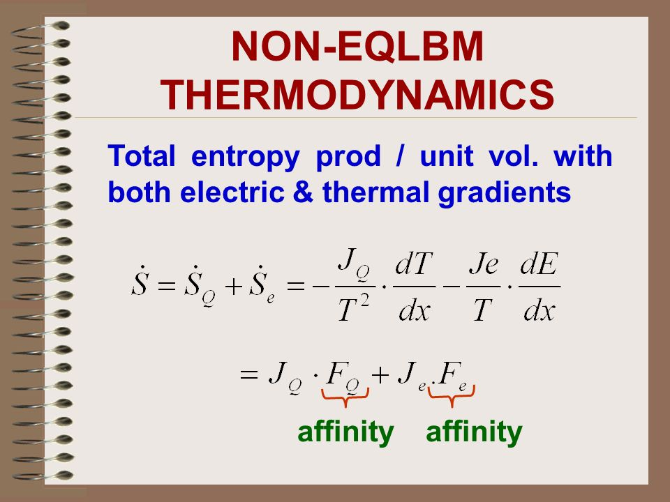 Total entropy prod / unit vol. with both electric & thermal gradients affinity