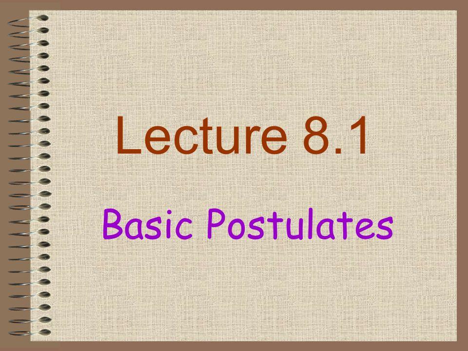 Lecture 8.1 Basic Postulates
