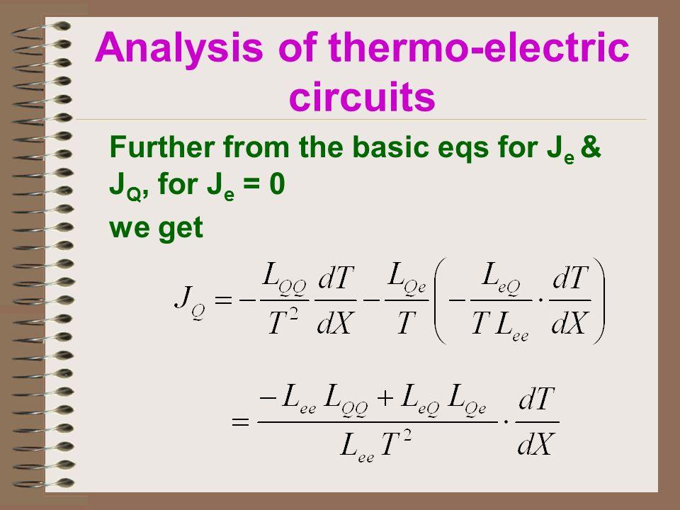 Further from the basic eqs for J e & J Q, for J e = 0 we get