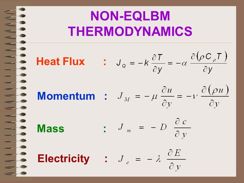NON-EQLBM THERMODYNAMICS Heat Flux : Momentum : Mass : Electricity :