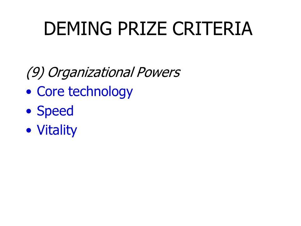 DEMING PRIZE CRITERIA (9) Organizational Powers Core technology Speed Vitality