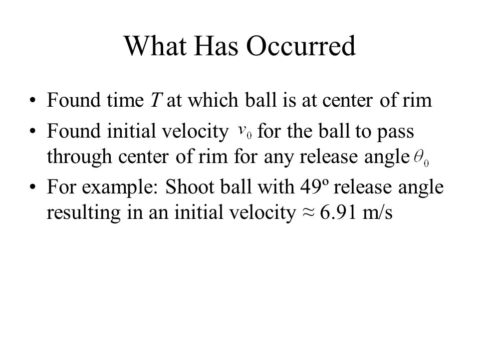 What Has Occurred Found time T at which ball is at center of rim Found initial velocity for the ball to pass through center of rim for any release ang