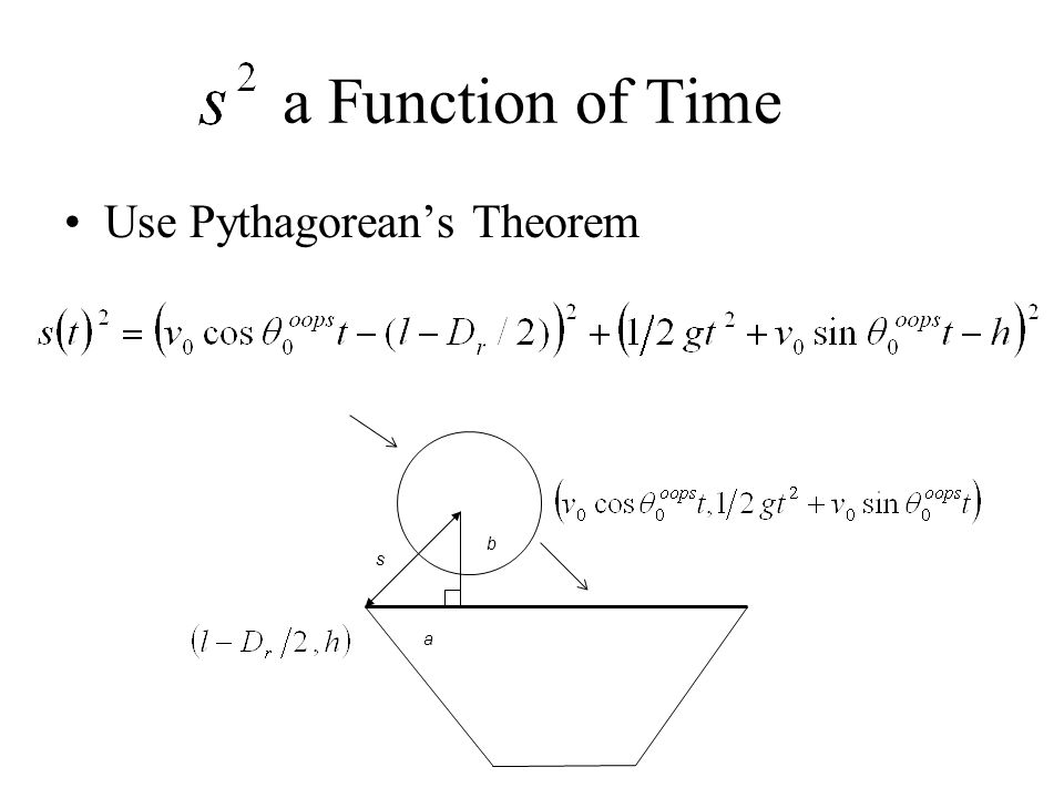 a Function of Time Use Pythagoreans Theorem s a b