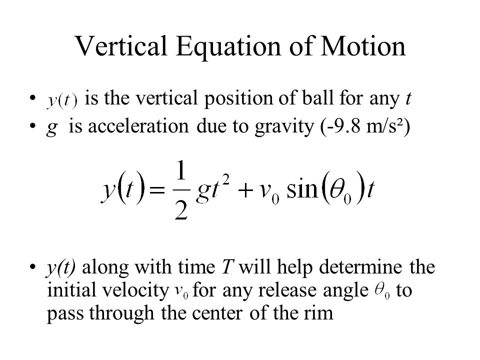 Vertical Equation of Motion is the vertical position of ball for any t g is acceleration due to gravity (-9.8 m/s²) y(t) along with time T will help d