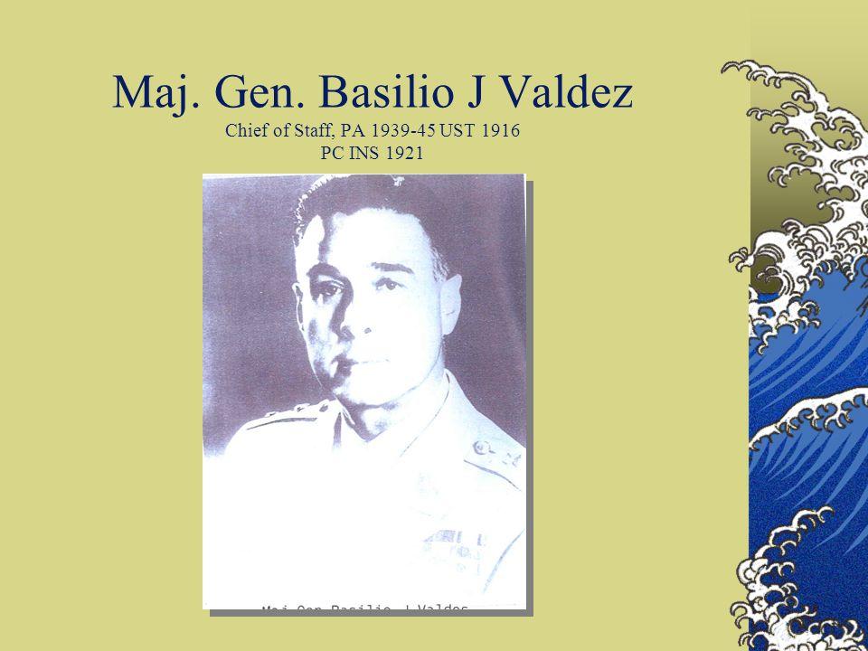 Maj. Gen. Basilio J Valdez Chief of Staff, PA 1939-45 UST 1916 PC INS 1921