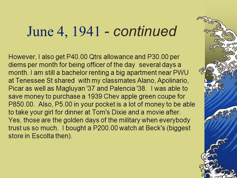 June 11, 1941 - continued Todate, my 17 PAAC classmates are assigned to various post participating in rigorous training.