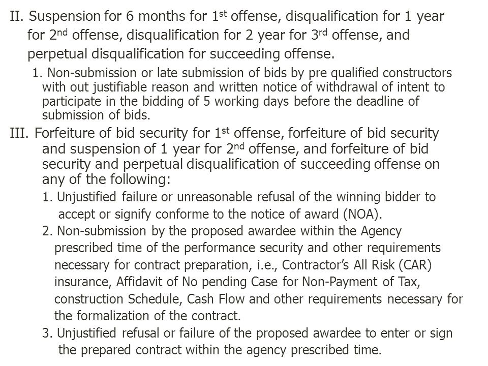 II. Suspension for 6 months for 1 st offense, disqualification for 1 year for 2 nd offense, disqualification for 2 year for 3 rd offense, and perpetua