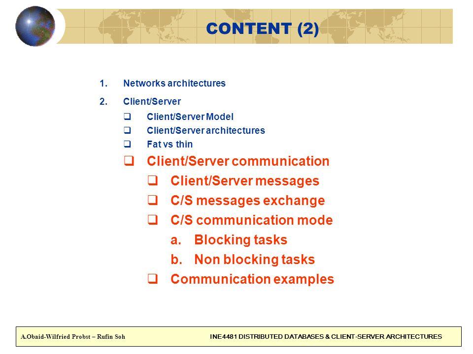 CONTENT (2) 1.Networks architectures 2.Client/Server Client/Server Model Client/Server architectures Fat vs thin Client/Server communication Client/Se