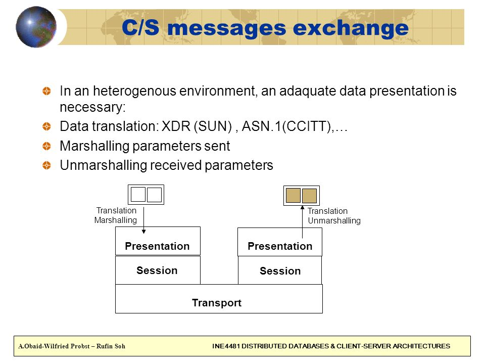 C/S messages exchange In an heterogenous environment, an adaquate data presentation is necessary: Data translation: XDR (SUN), ASN.1(CCITT),… Marshall