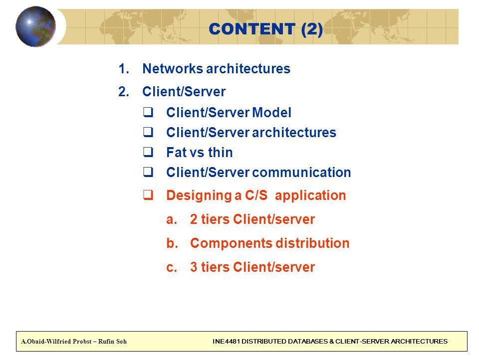 CONTENT (2) 1.Networks architectures 2.Client/Server Client/Server Model Client/Server architectures Fat vs thin Client/Server communication Designing