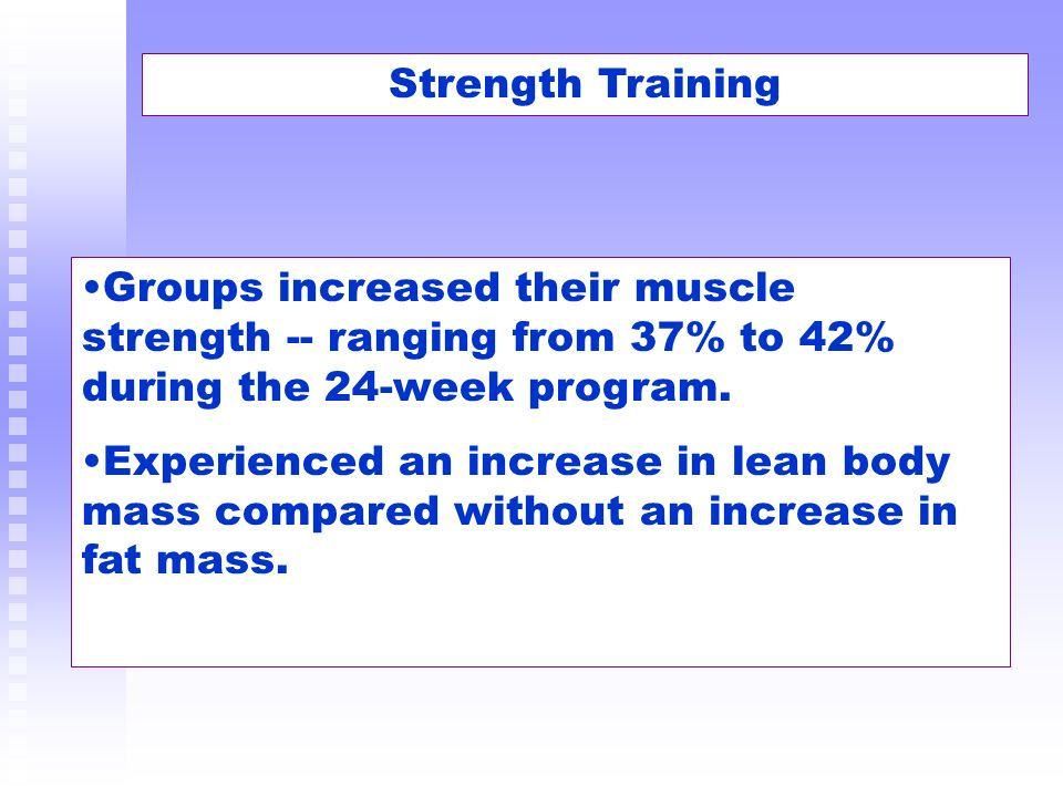 Strength Training Groups increased their muscle strength -- ranging from 37% to 42% during the 24-week program. Experienced an increase in lean body m