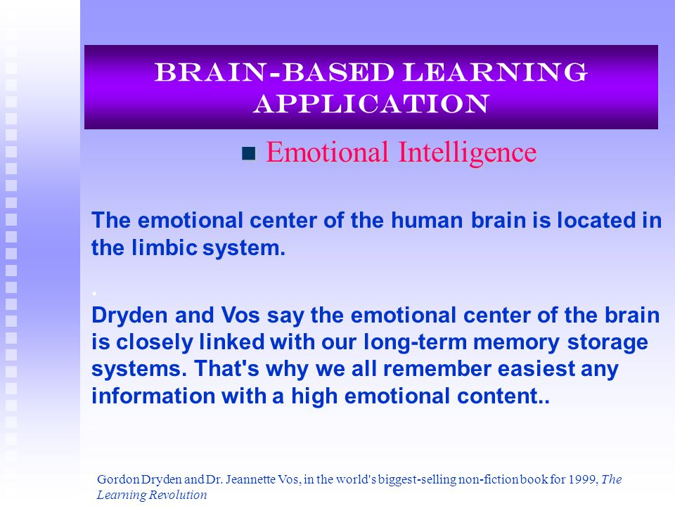 Brain-Based Learning Application Emotional Intelligence Emotional Intelligence Gordon Dryden and Dr. Jeannette Vos, in the world's biggest-selling non