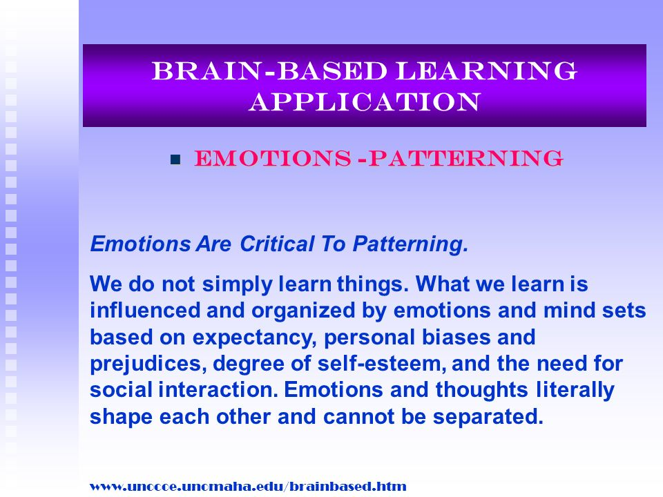 Brain-Based Learning Application Emotions -Patterning Emotions -Patterning Emotions Are Critical To Patterning. We do not simply learn things. What we