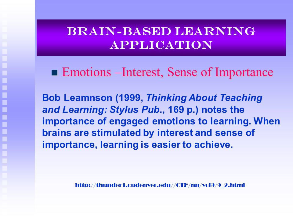 Brain-Based Learning Application Emotions –Interest, Sense of Importance Emotions –Interest, Sense of Importance Bob Leamnson (1999, Thinking About Te