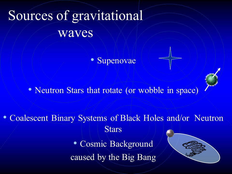 Gravitational radiation has 2 polarizations and the energy is emitted mostly in the quadrupole (football shape distribution of matter required) The wa