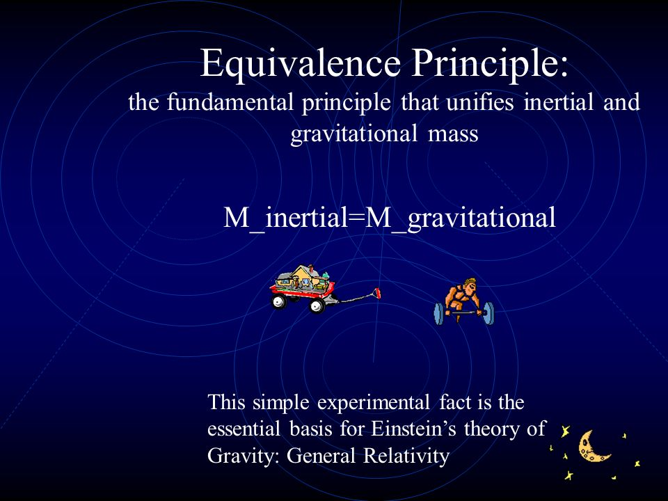 Equivalence Principle: the fundamental principle that unifies inertial and gravitational mass M_inertial=M_gravitational This simple experimental fact is the essential basis for Einsteins theory of Gravity: General Relativity