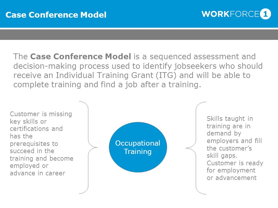 Case Conference Model The Case Conference Model is a sequenced assessment and decision-making process used to identify jobseekers who should receive a