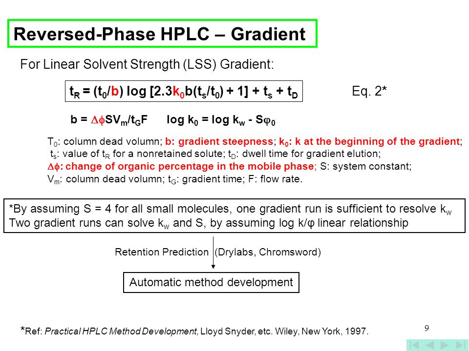 9 Reversed-Phase HPLC – Gradient *By assuming S = 4 for all small molecules, one gradient run is sufficient to resolve k w Two gradient runs can solve