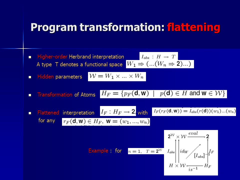 Program transformation: flattening Higher-order Herbrand interpretation Higher-order Herbrand interpretation A type T denotes a functional space A typ