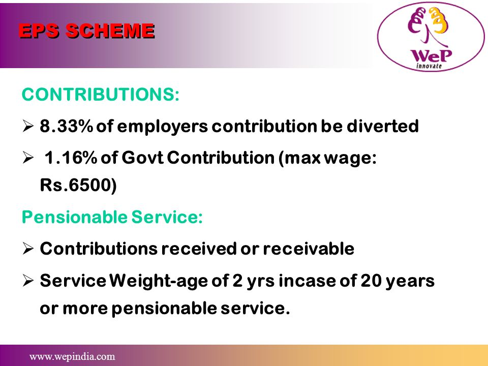 www.wepindia.com EPS SCHEME ELIGIBILITY FOR PENSION: An employee who completed min 10 years membership. Employees attaining age of 58 yrs and who comp