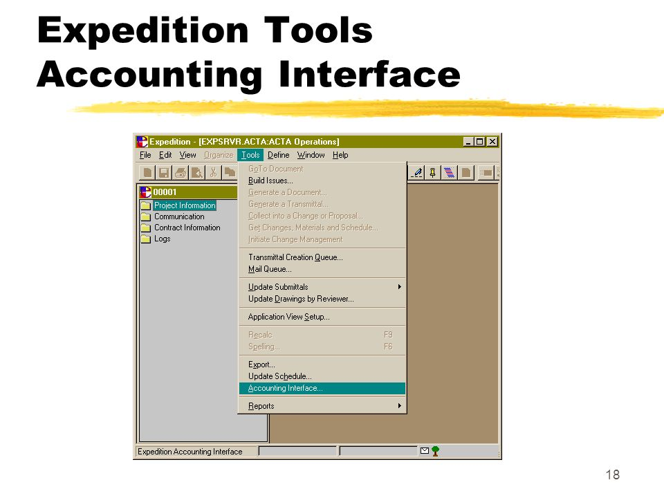 18 Expedition Tools Accounting Interface