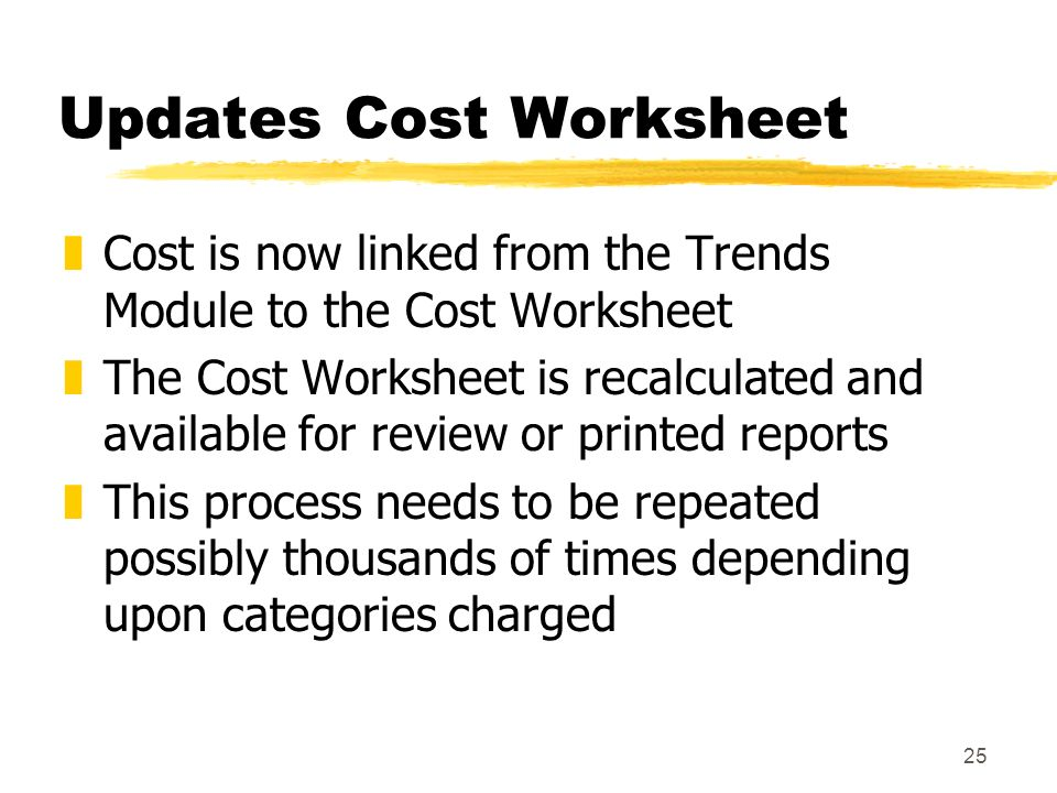 25 Updates Cost Worksheet zCost is now linked from the Trends Module to the Cost Worksheet zThe Cost Worksheet is recalculated and available for review or printed reports zThis process needs to be repeated possibly thousands of times depending upon categories charged