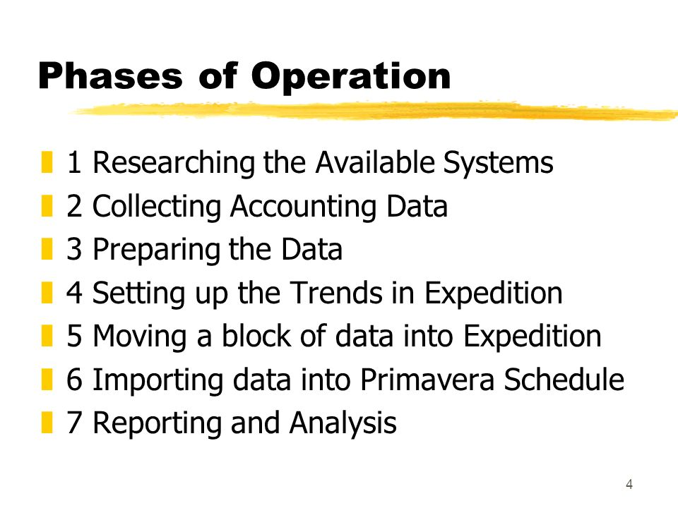 4 Phases of Operation z1 Researching the Available Systems z2 Collecting Accounting Data z3 Preparing the Data z4 Setting up the Trends in Expedition z5 Moving a block of data into Expedition z6 Importing data into Primavera Schedule z7 Reporting and Analysis