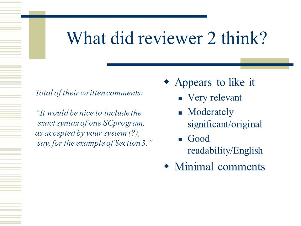 What did reviewer 2 think.