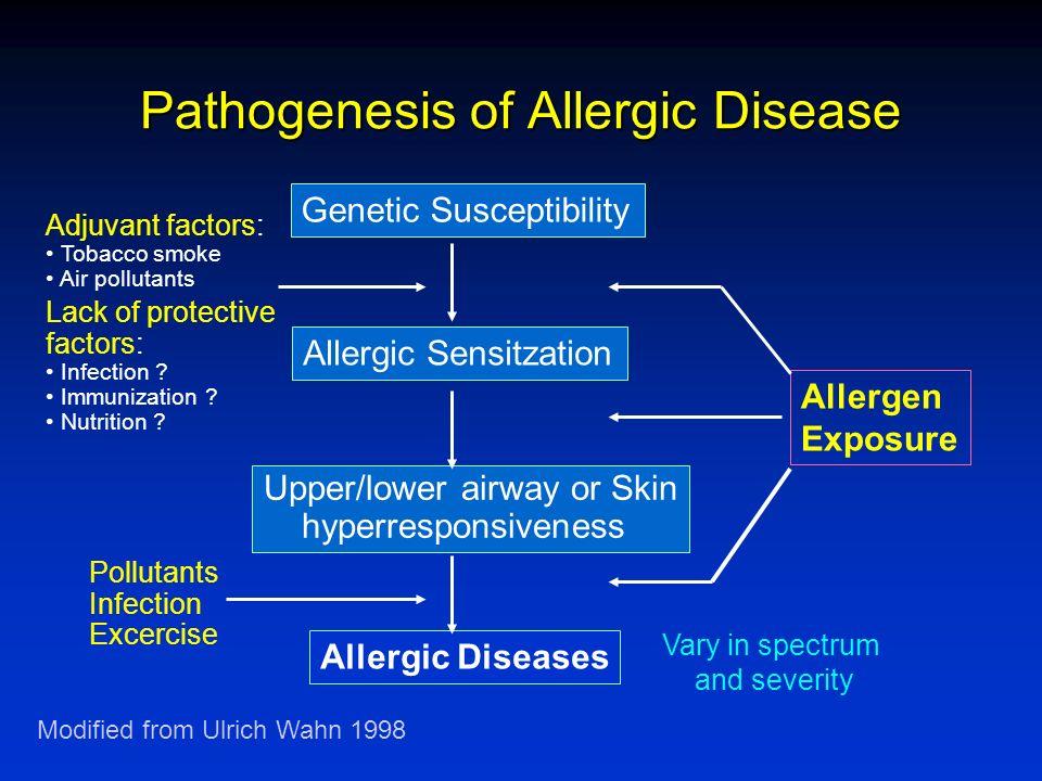 Pathogenesis of Allergic Disease Genetic Susceptibility Allergic Sensitzation Upper/lower airway or Skin hyperresponsiveness Allergic Diseases Allerge