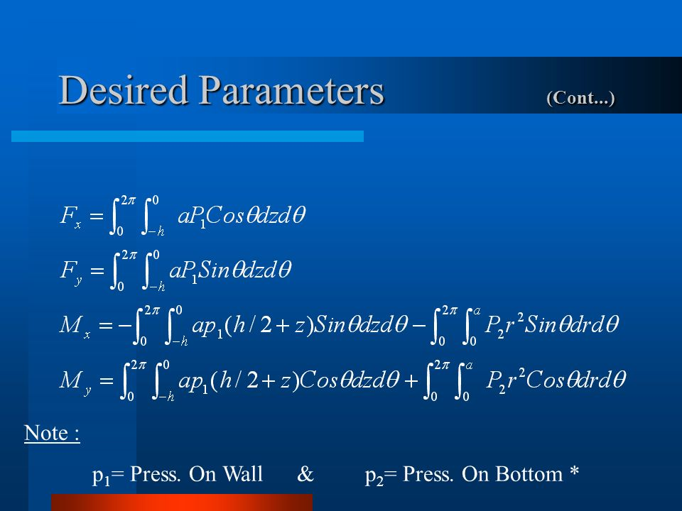 Desired Parameters (Cont...) Note : p 1 = Press. On Wall&p 2 = Press. On Bottom *