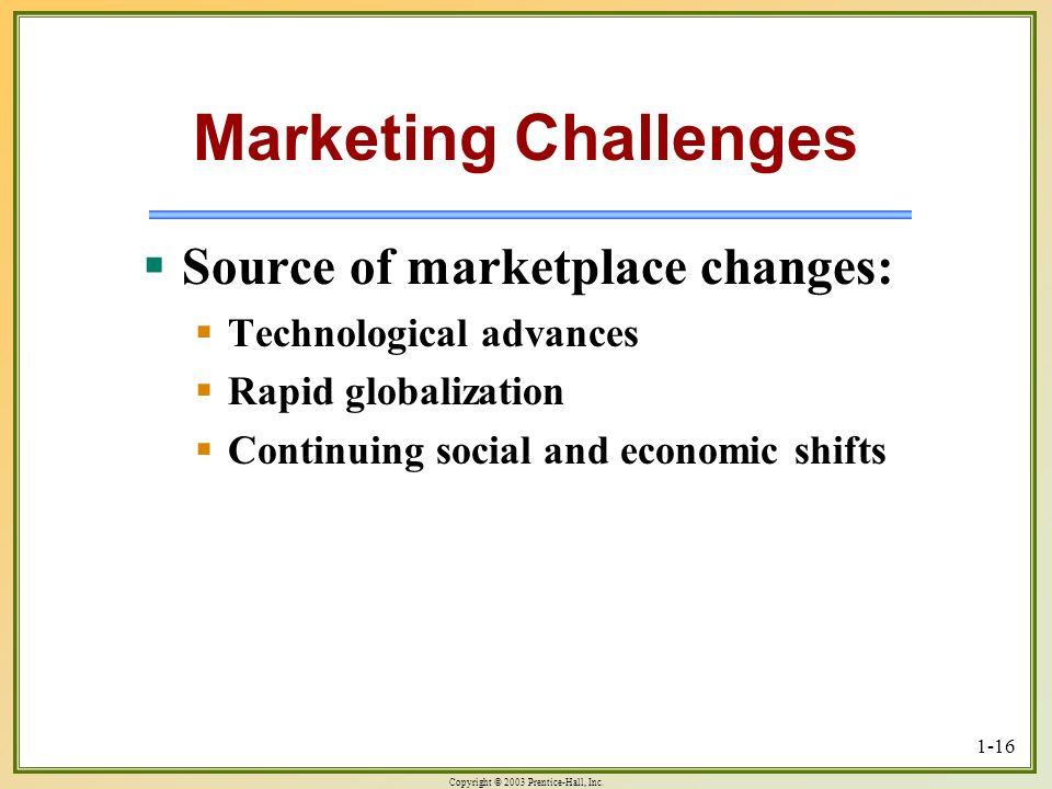 Copyright © 2003 Prentice-Hall, Inc. 1-16 Marketing Challenges Source of marketplace changes: Source of marketplace changes: Technological advances Te