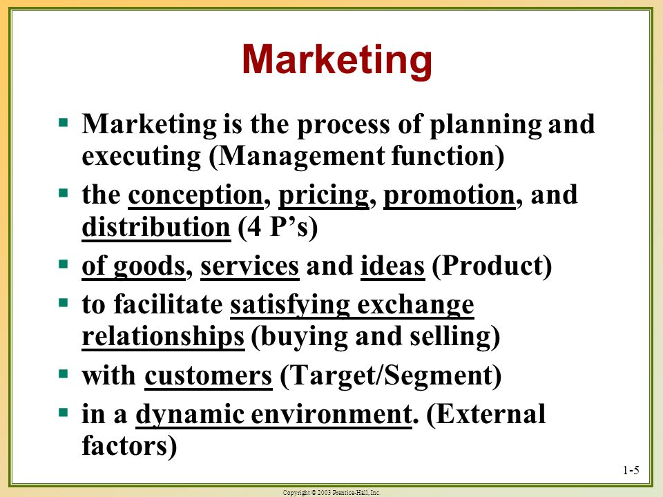 Copyright © 2003 Prentice-Hall, Inc. 1-5 Marketing Marketing is the process of planning and executing (Management function) Marketing is the process o