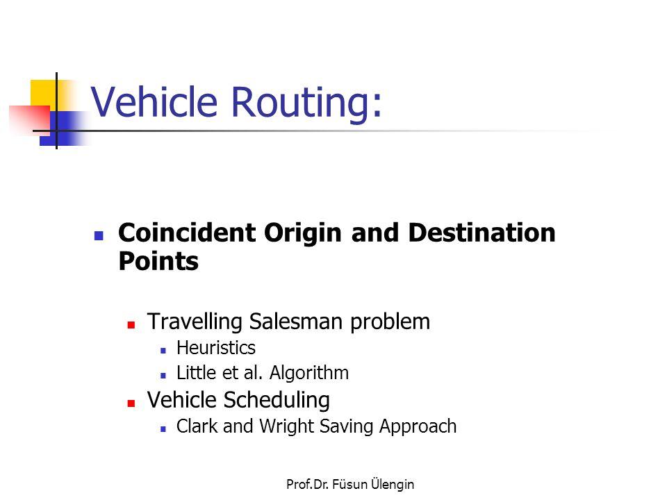Prof.Dr. Füsun Ülengin Vehicle Routing: Coincident Origin and Destination Points Travelling Salesman problem Heuristics Little et al. Algorithm Vehicl