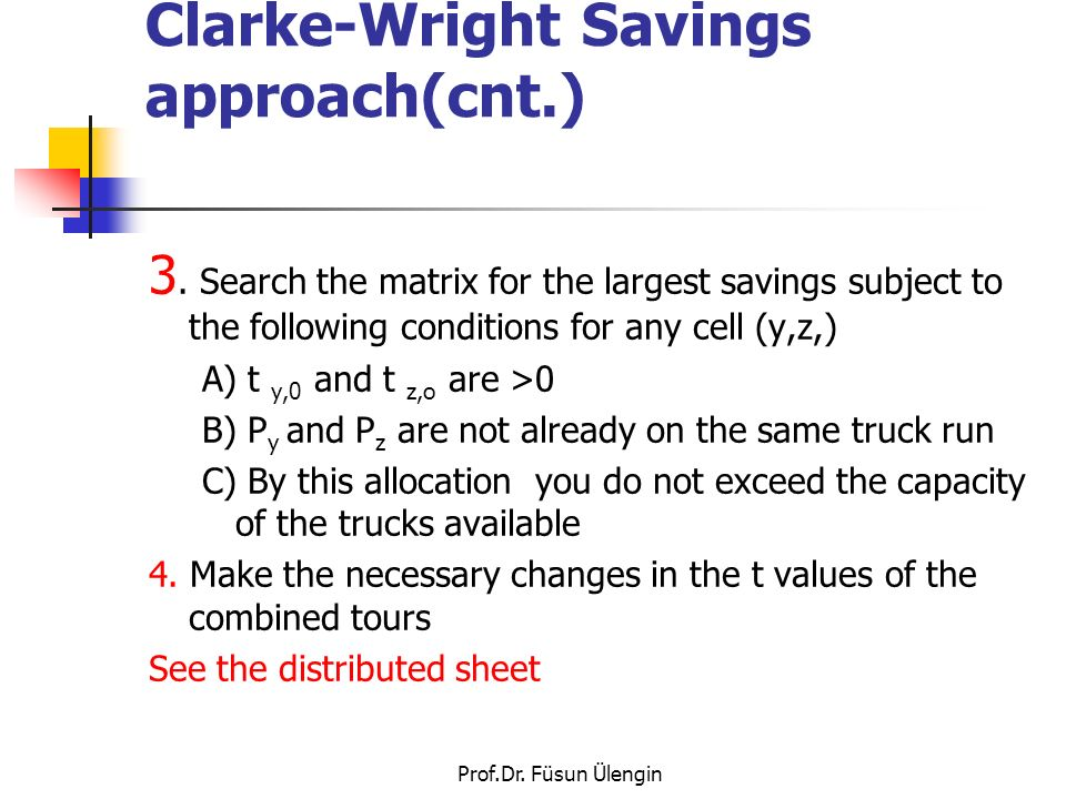 Prof.Dr.Füsun Ülengin Clarke-Wright Savings approach(cnt.) 3.
