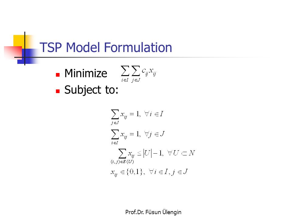 TSP Model Formulation Minimize Subject to: