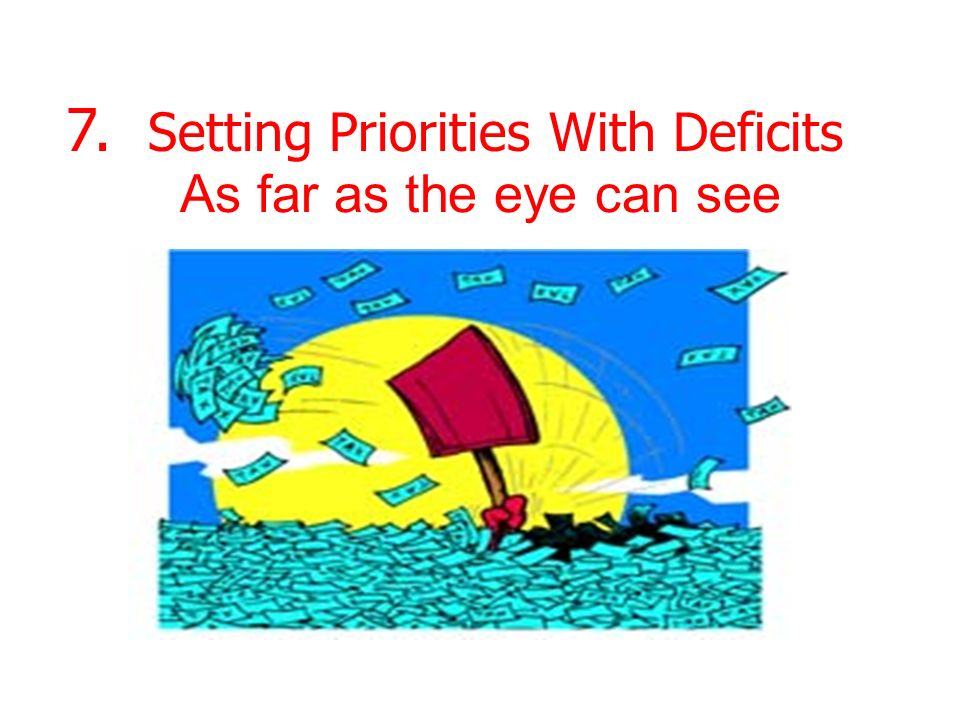 As far as the eye can see 7. Setting Priorities With Deficits