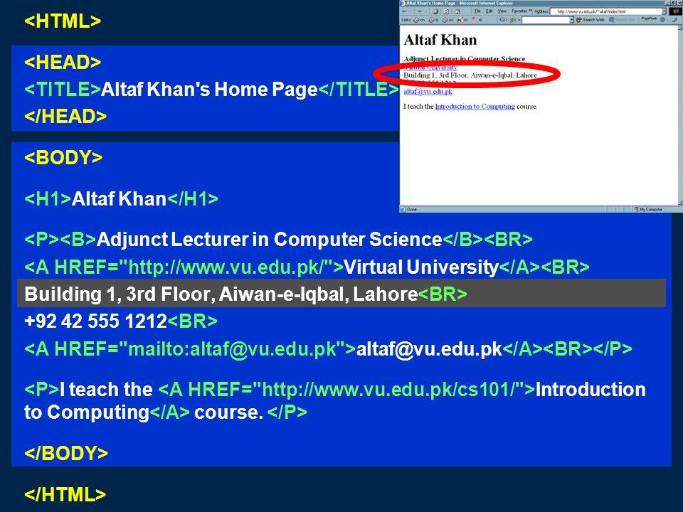 Altaf Khan's Home Page Altaf Khan Adjunct Lecturer in Computer Science Virtual University Building 1, 3rd Floor, Aiwan-e-Iqbal, Lahore +92 42 555 1212