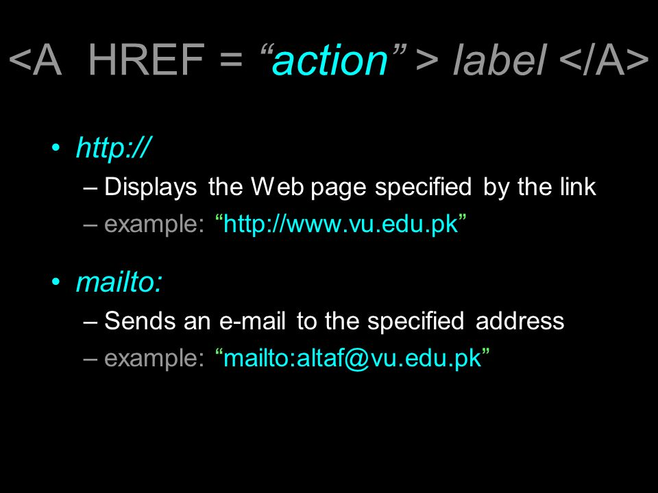 label http:// –Displays the Web page specified by the link –example: http://www.vu.edu.pk mailto: –Sends an e-mail to the specified address –example: