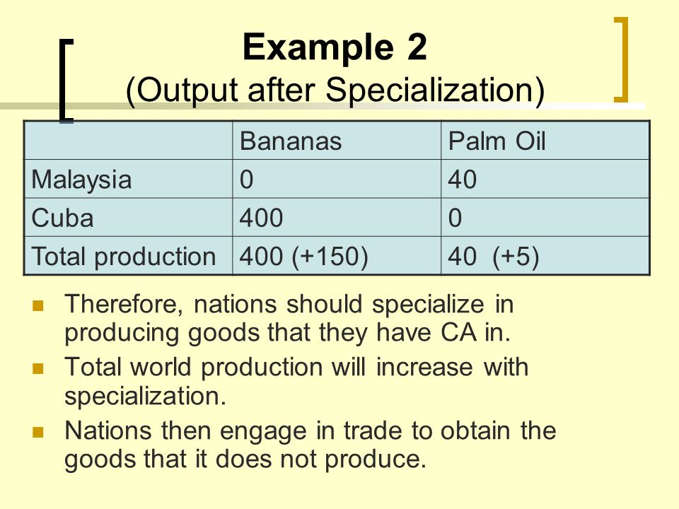 Example 2 (Output after Specialization) Therefore, nations should specialize in producing goods that they have CA in. Total world production will incr
