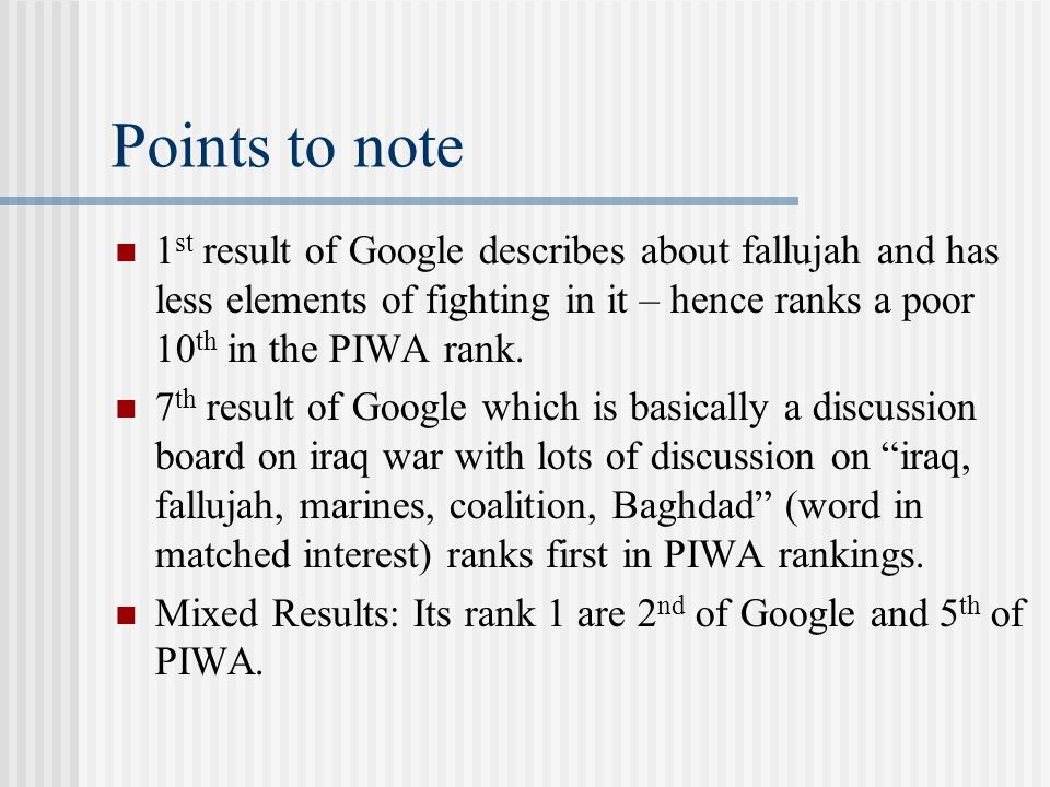 Points to note 1 st result of Google describes about fallujah and has less elements of fighting in it – hence ranks a poor 10 th in the PIWA rank.