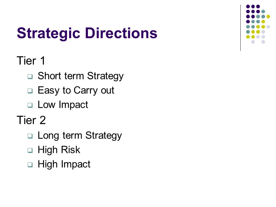 Strategic Directions Tier 1 Short term Strategy Easy to Carry out Low Impact Tier 2 Long term Strategy High Risk High Impact
