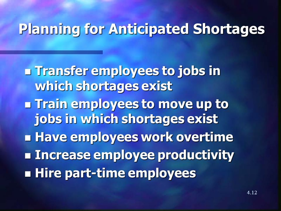 4.12 Planning for Anticipated Shortages n Transfer employees to jobs in which shortages exist n Train employees to move up to jobs in which shortages exist n Have employees work overtime n Increase employee productivity n Hire part-time employees